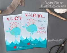 Whale Valentines Great Catch Valentine Cards by parchmentpath