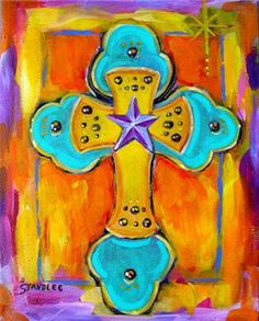 Image detail for -... wrapped canvas acrylic on canvas this christian cross painting has