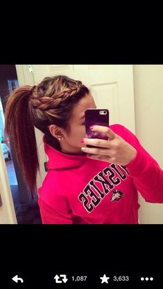 side braid pony tail