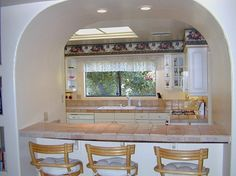 """Small Kitchen Bar Ideas..this looks like an idea for the """"hatch"""""""