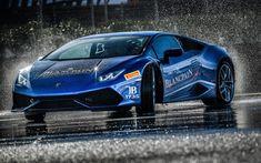 Download wallpapers Lamborghini Huracan, 4k, drift, hypercars, 2017 cars, blue Huracan, Lamborghini