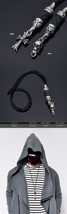 Accessories :: Necklaces :: Pendant Braided Mix Long-Necklace 269 - Mens Fashion Clothing For An Attractive Guy Look