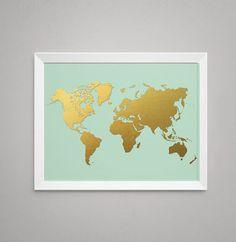 World Map in Digital Gold Foil on Mint, - Print, Artwork, Poster - Gold Foil Print, Mint