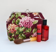 Burgundy Wedding clutch | Marsala metal frame purse | Hortensia cosmetic bag | Lilac flower handbag | Clutch with Kisslock | Bridesmaid gift - pinned by pin4etsy.com