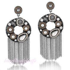 Vogue Crystal Pearl Black Tassel Earrings Studs Huge Round Dangle pierced E432 #Bearfamilybirth #DropDangle