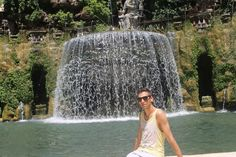 Me on a very hot day infront of one of many fountains in Villa D'este Tivoli.