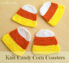 Hand Knit Candy Corn Coasters |Just B Crafty