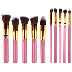 KingYuan Kabuki Makeup Brush Set - 10 Pcs Collection With Premium Synthetic Bristles For Eye and Face Cosmetic Pink Gold -- For more information, visit image link. (This is an affiliate link) #BrushSets