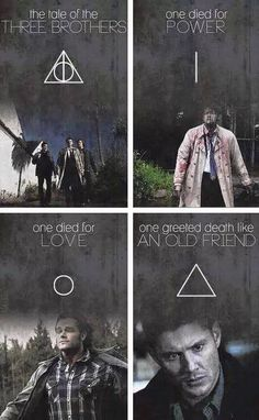 The Tale of Three Brothers: One died for Power, One died for Live, and One greeted Death like An Old Friend. (Team Free Will Edit: Castiel, Sam & Dean Winchester)