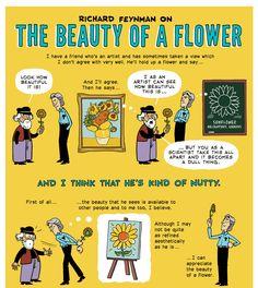 zenpencils:  Richard Feynman 'The beauty of a flower'  What a fine man.