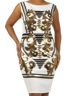 Plus Size Egyptian Print White Gold Foil Metallic Dress, plus size dresses  plus size casual, Chic for later that day