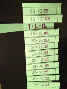 Two Digit Addition Activities  you could make this into a MATCH it UP game of number sentence to base ten blocks