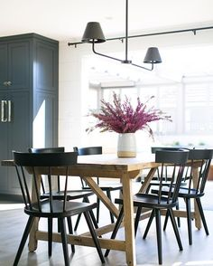 Breakfast Table, Black Chairs with Natural Wood Table | Instagram: Wendy Word Design
