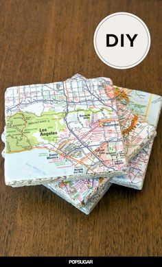 Give Old Maps New Life as Tile Coasters: The next time you return from a fun adventure, commemorate your travels and create unique coasters using maps of the destination. Map Crafts, Tile Crafts, Crafts To Make, Craft Gifts, Diy Gifts, Map Coasters, Diy Stockings, Do It Yourself Furniture, Old Maps