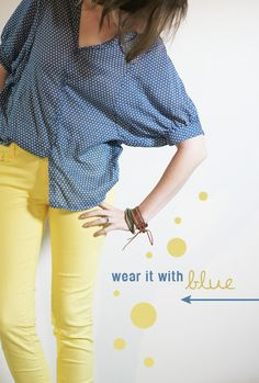 yellow jeans - blue dots - cute
