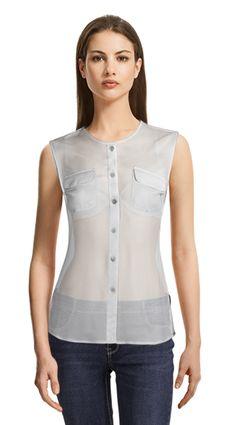 Mint Green sleeveless blouse with hidden buttons White Sleeveless Blouse, Sleeveless Jacket, Suits For Women, T Shirts For Women, Button Up Shirts, Shirt Dress, Female, Tank Tops, Womens Fashion