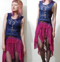 CROCHET DRESS Vintage Lace OMBRE Tie-dye Long Fishtail Bohemian Hippie Gypsy Grunge Boho Scallop edge Fairy Handmade ooak xs-s