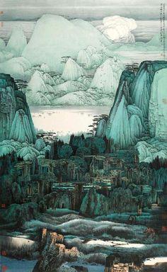 Beautiful Artwork by 薛亮 (Xue Liang) Chinese Landscape Painting, Chinese Painting, Landscape Paintings, Traditional Paintings, Traditional Art, Deco Paint, Art Chinois, Paint Photography, Art Japonais
