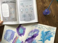 """This week is all things icicles and snowflakes. I drew some of the different shapes of snowflakes with a white crayon and the boys watercolored over to find them. They picked out their favorite shape and identified it from our Nature Anatomy book. It was the most simple setup—which is what we're all about over here, and the boys thought it was """"magic"""" how the snowflakes appeared. ❄️👌🏼Let's see if dinner can now magically make itself... 😒"""