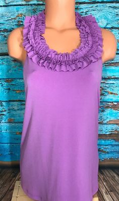 Grace Womens Purple Ruffle Blouse Sz M Medium Top Shirt   | eBay