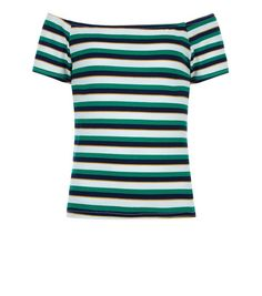 Teens Green Stripe Bardot Neck Top | New Look