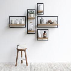 modern wooden wall shelves design ideas for living room 2019 Unique Wall Shelves, Wooden Wall Shelves, Wall Shelves Design, Decorative Wall Shelves, Bedroom Wall Shelves, Wood Wall, Wooden Shelf Design, White Wall Shelves, Wall Design