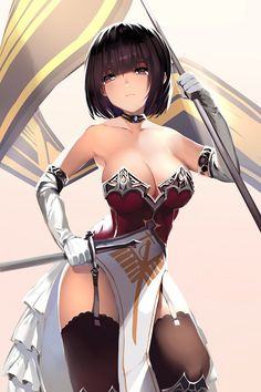 original orihi chihiro 1girl bangs banner bare shoulders black hair black legwear bob cut breasts bustier collar dress elbow gloves garter straps gloves holding holding sword holding weapon large breasts lingerie looking at viewer pelvic curtain purple eyes short hair solo strapless strapless dress sword thighhighs underwear weapon white gloves