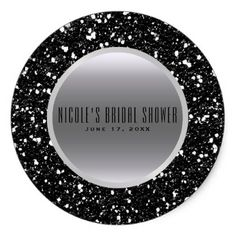 Silver & Black Glitter Glam Elegant Wedding Favor Classic Round Sticker - wedding cyo special idea weddings