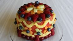 """cake made out of fruit. Watermelon as the """"cake"""" different fruit as """"decorations"""". Use toothpicks to adhere to watermelon."""