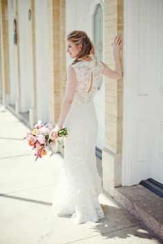 "Amsale ""Blythe"" gown worn by an #AmsaleBride. #RealWedding photo by The Nichols Photo"