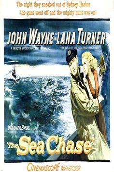 THE SEA CHASE movie poster john WAYNE lana TURNER OCEAN ADVENTURE 24X36 -VW0