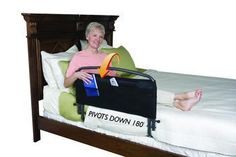 """Sleep safely.  Makes it easier to get in and out of bed.  30"""" Pivoting Safety Bed Rail With Padded Pouch  $139.99 - includes Free doorstep delivery.  Call  1-800-985-1353 to learn more."""