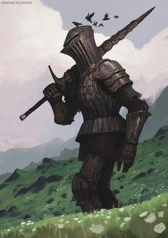 ArtStation - The Giant Rusty Knight from the hills, Edward Delandre Dark Fantasy, Fantasy Armor, Medieval Fantasy, Character Concept, Character Art, Concept Art, Character Design, Dark Souls, Fantasy Inspiration