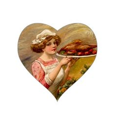 Vintage Sticker Thanksgiving Dinner Lady w/ Turkey