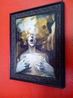"Michael Carbonaro ""ATOM"" 12x16 Oil on Wood 2012 with this Larson-Juhl custom Framed"