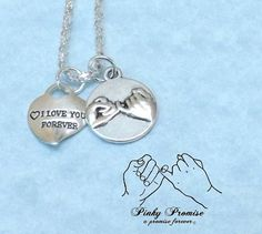 I Love You Forever Heart - Pinky Promise Necklace - Mother Daughter Necklace -