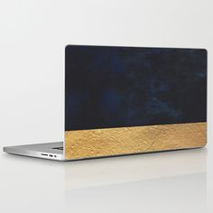 Color Blocked Gold & Cobalt Laptop & iPad Skin