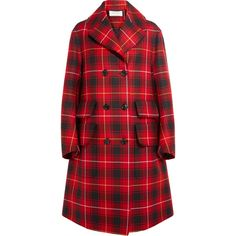Gucci Oversized appliquéd tartan wool coat ($5,045) ❤ liked on Polyvore featuring outerwear and coats
