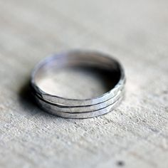 Stacking rings. These sterling silver hammered stacking rings come as a set of 3. Each stacking ring is hand hammered to create a unique pattern.