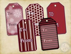 Christmas Gift Tags (10 designs)- Burgundy Snowflakes, Hang Tag, Christmas Packaging, Gift Labels, Cut Out, Gift Wrap  (Printable Download)