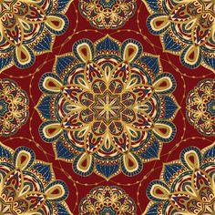 Seamless vector bright ornate pattern with mandalas Template for textiles shawl carpet bandana tile  Stock Vector