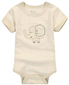 Fiream Baby Cotton Cartoon Animal Triangle Short Sleeve Romper(Elephant,3-6m)