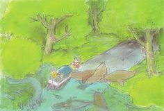 Sosuke and Ponyo beaching their toy boat while on a quest to find Lisa. From Ponyo (2008) Color Keys http://livlily.blogspot.hu/2012/04/artworks-of-hayao-miyazaki-films.html