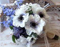 Blue Weddings Brides Bouquet Periwinkle Bluebonnets white anemones with blue centers. country rustic wildflower bouquet by BouquetLane http://www.bouquetlane.etsy.com