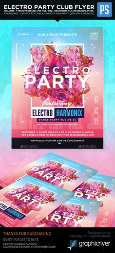 Electro Party Club Flyer  — PSD Template #techno #club flyer template • Download…