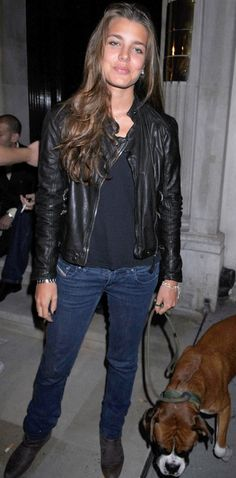 Charlotte Casiraghi, daughter of Princess Caroline of Monaco, with her pet boxer!
