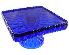 Large Cobalt Blue Glass Pedestal Cake Plate.. I want this..so beautiful