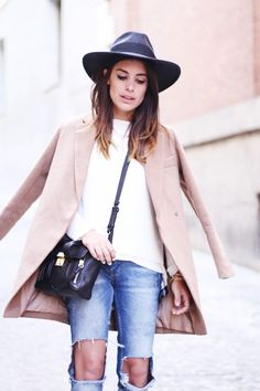 neutral camel coat + denim