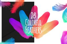 18 colorful feathers in PNG high-res. New Iphone, Iphone Se, Photoshop 6, Dot Texture, Colorful Feathers, Gradient Color, Mockup, Custom Design, How To Draw Hands