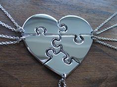 Five Piece Heart Puzzle Necklace Pendants by GorjessJewellery
